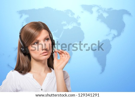 Call center operator at work, world map background