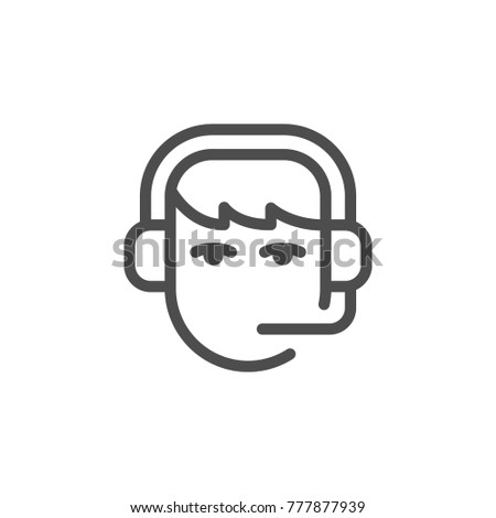 Call center operator line icon isolated on white
