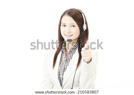 Call center operator showing thumbs up sign