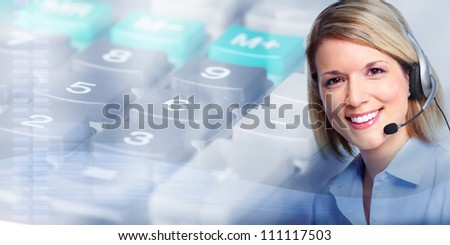 Call center operator woman. Business background.
