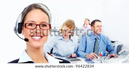 Call center secretary woman with headsets. Office workers.