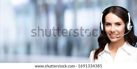 Call Center Service. Customer support or sale agent. Female caller or receptionist phone operator. Copy space for some text, advertising or slogan. Help, answering and telemarketing concept.