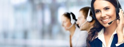Call Center Service. Photo of customer support or sales agent. Group of callers or receptionist phone operators. Copy space for some text, advertising or slogan. Help line answering and telemarketing.