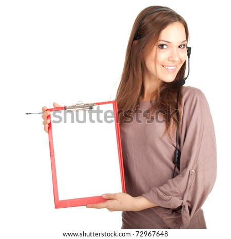 Call center young woman with a headset and blank clipboard, series