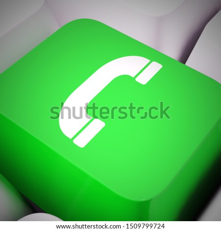 Call key means telephone the helpdesk or helpline. Getting support or assistance and help - 3d illustration