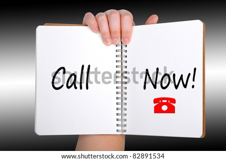 Call Now words on book