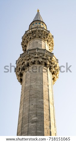 Call to prayer minaret with public announce system, Suleymaniye Mosque  #718151065