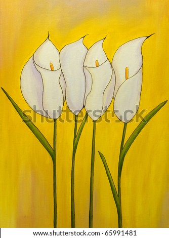 Calla bouquet - original oil painting of flowers on yellow background. I'm the author of this painting. - stock photo