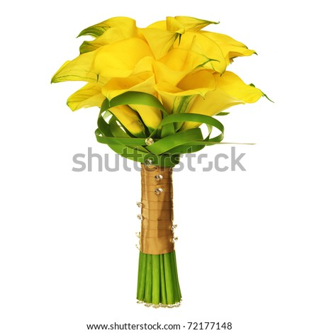 Calla Lilly Wedding Bouquet isolated on white