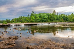 Callaghan's Rapids Marmora Ontario Canada in summer, low flow, water cascading through crevice on river bed