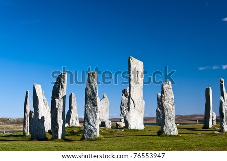 Callanish Stones, a cross-shaped setting of standing stones erected around 2000 BC, one of the most spectacular megalithic monuments in Scotland.