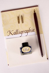 Calligraphic supplies side by side