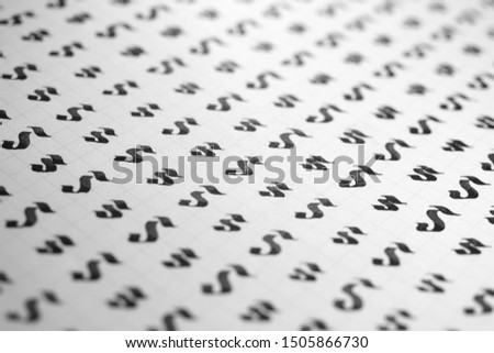 Calligraphy black and white letters S background. Lettering practice writing worksheet. Handwriting symbol filling pattern. Calligraphic letter s learning skills paper page. #1505866730