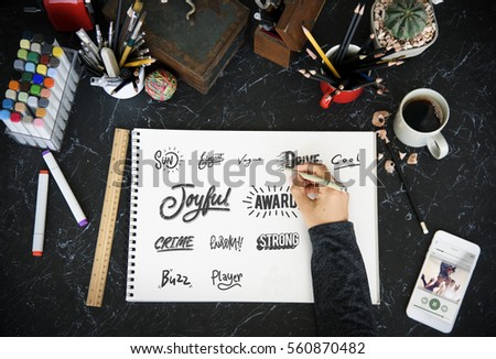Calligraphy Design Typography Workplace #560870482