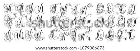 calligraphy letters set M, N and O, script font Isolated on white written with ink, raster version illustration