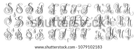 calligraphy letters set S, T and U, script font Isolated on white written with ink, raster version illustration