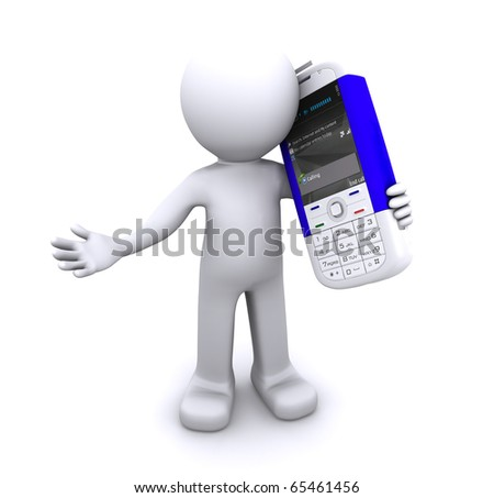 Calling 3d character. Isloated - stock photo
