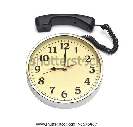 calling time(clock face and telephone over white)