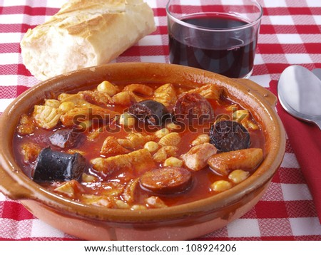Callos a la Madrile�±a. â��Callosâ�� is a typical  dish from Madrid. The main ingredient is beef tripe, cooked with red spicy sausage (chorizo), black sausage (morcilla), ham, and sometimes chickpeas.