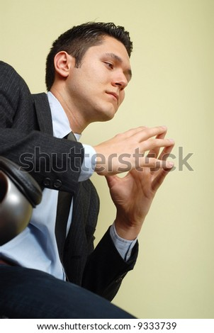 Calm and composed businessman making up his mind