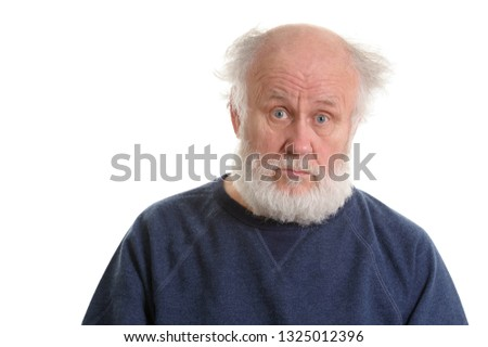 calm and sad depressing old bald man isolated portrait isolated on white #1325012396