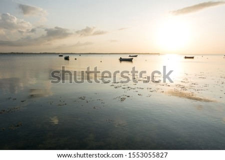 Calm bay at the Baltic Sea in beautiful bronze light with a few rowing boats in the background #1553055827