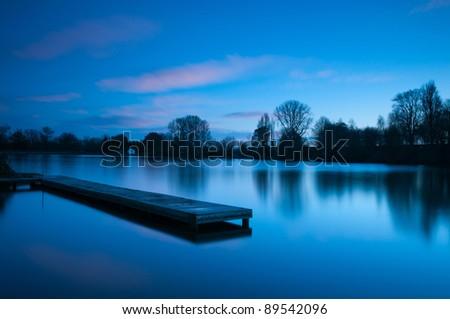 Calm blue sunset at lake
