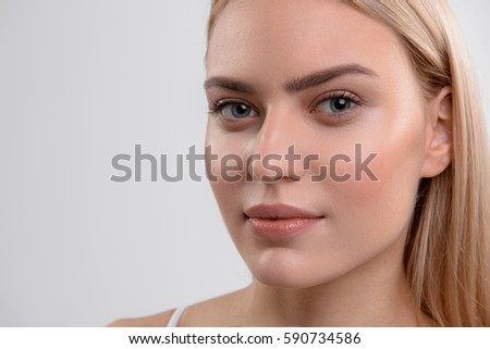 Calm girl with perfect skin - Shutterstock ID 590734586