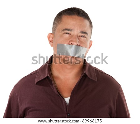 Calm Hispanic man with duct tape over his mouth on white background