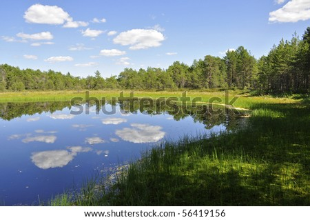 Calm lake reflection