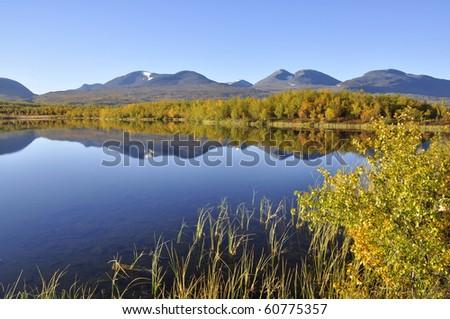 Calm lake reflection in Abisko National-park in Sweden