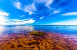 Calm lake water horizon landscape