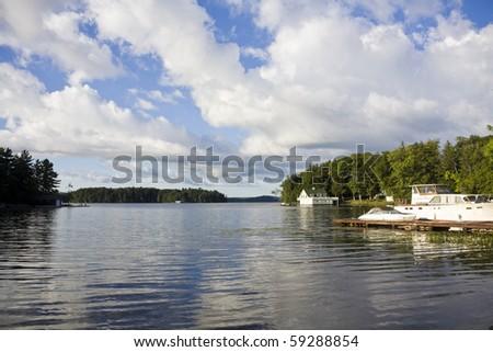 Calm lake water shot in Muskoka, Ontario Cottage Country