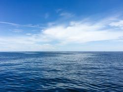 Calm marine landscape seawater under blue sky