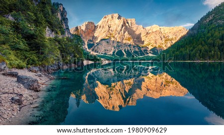 Calm morning view of Braies (Pragser Wildsee) lake. Exciting summer scene of Fanes-Sennes-Braies national park, Dolomiti Alps, South Tyrol, Italy, Europe. Beauty of nature concept background. Zdjęcia stock ©