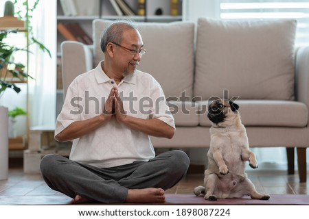Calm of Asian elderly senior man doing yoga with dog pug breed in living room at home,Happy Retired with pug dog concept,Wellness pensioner breathing and meditation with cute dog pug in living room