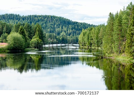 Calm river flowing gently through woodland landscape. Location River Lagen in Norway. #700172137