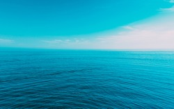Calm Sea Ocean And Blue Sky Natural Background Backdrop.