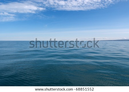 Calm seas off the coast of Iceland in Usavik
