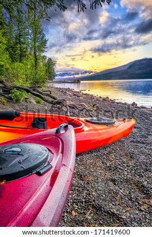 Calm sunset over Lake McDonald in Glacier National Park, MT