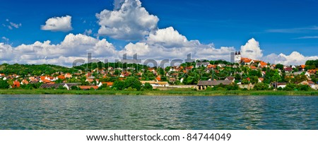 Calm village landscape panorama at lake Balaton in Tihany