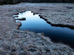 Calm water pool surrounded by grass land with hoar frost. Dark and white shades in the icy surface