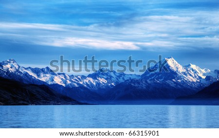 calm waters of a glacier lake with mountains behin