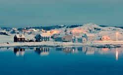 Calm winter evening in Durrell Harbour neighbourhood of outport town of Twillingate, Newfoundland, NL, Canada