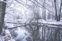 Calm wintry landscape on a river. Snowy ground and reflecting waters and branches on it. Image has a vintage effect applied. Wallpaper concept image.
