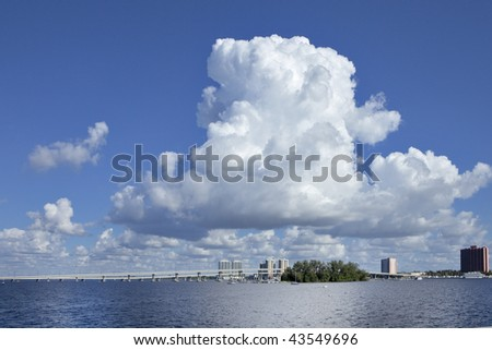 Caloosahatchee river cumulus clouds , high resolution - stock photo