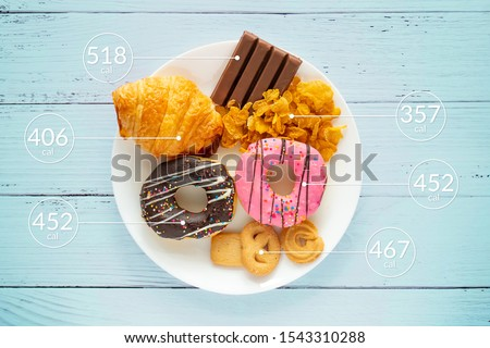 Calories counting and food control concept. doughnut ,croissant ,chocolate and cookies with label of quantity of calories for Calories measuring