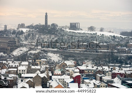 Calton Hill, Edinburgh, Scotland, UK, from the south, in the snow.  Fife is just visible across the Firth of Forth.