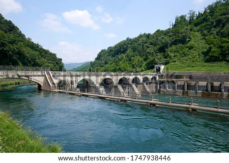 Calusco d'adda (Bg),Italy,  the hydroelectric powe station on the adda river Zdjęcia stock ©