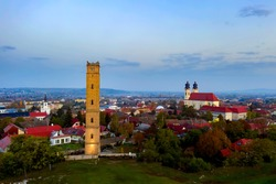 Calvary hill in Tata city hungary. Amazing photo about a geolocial open-air  museum and nature reserved area. There is Jakab Fellner lookout tower a chapel and iconic water tower